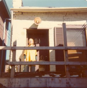 1979 Barbara Armstrong -at the front door of the Library!