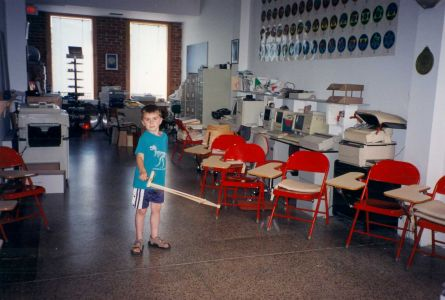 1999-06-Library-Robin's-nephew Drew-in the library classroom!